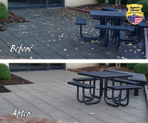 Before and after concrete pressure washing service