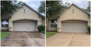Before and after image of concrete cleaning